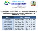 Câmara Muncipal de Santana do Riacho, Divulga Calendário de Suas Reuniões Ordinárias, Para o Ano de 2017.